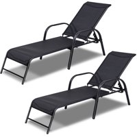 Deals on 2 Costway Patio Lounge Chairs Sling Chaise Lounges Recliner