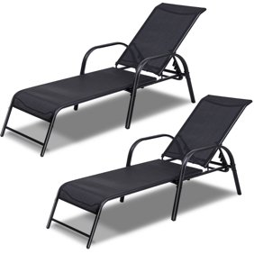 Remarkable Goplus Outdoor Patio Chaise Lounge Chair Sling Lounges Recliner Adjustable Back Theyellowbook Wood Chair Design Ideas Theyellowbookinfo