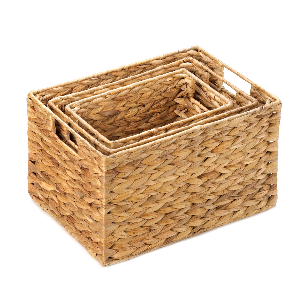 Woven Baskets For Storage, Stackable Wicker Baskets, Straw (set Of 3)