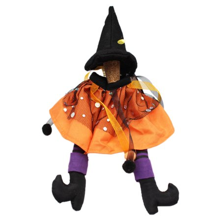 Wicked Witch Stuffed Hat and Legs Spooky Wine Bottle Topper: Orange - By Ganz