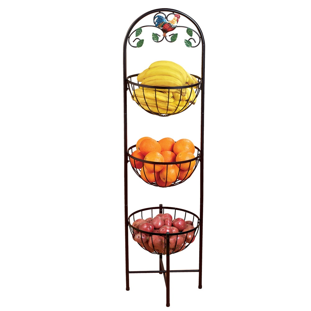 3-Tier Country Farmhouse Rooster Metal Storage Basket for Fruits ...