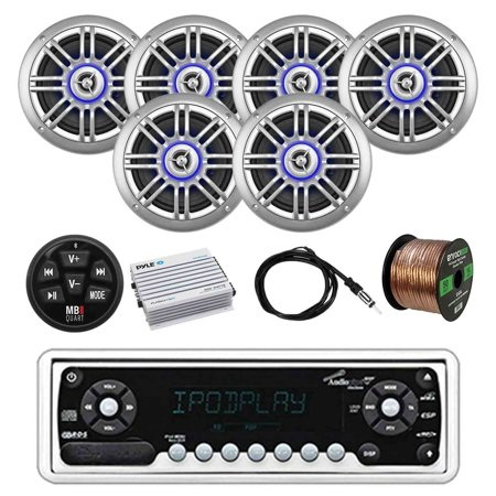 Audiopipe Marine Stereo W/ MB Quart Wired Bluetooth Preamp Controller, Millenia Coaxial Marine Outdoor Silver Speakers (3-pairs), Pyle Bluetooth Amp, Enrock Marine Antenna and Enrock 50' 16G SPKR Wire