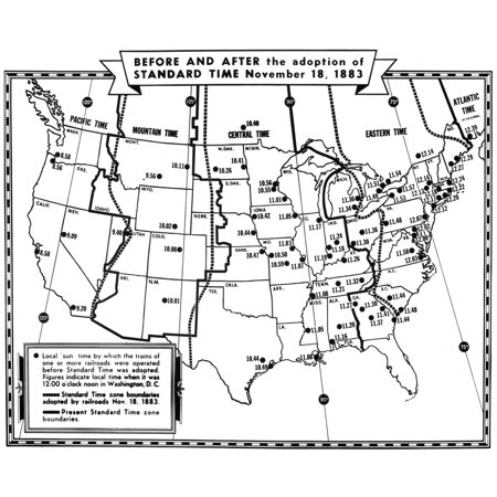 Stretched Canvas Art - U.S.A. Time Zones Map, 1883. /Nan ...