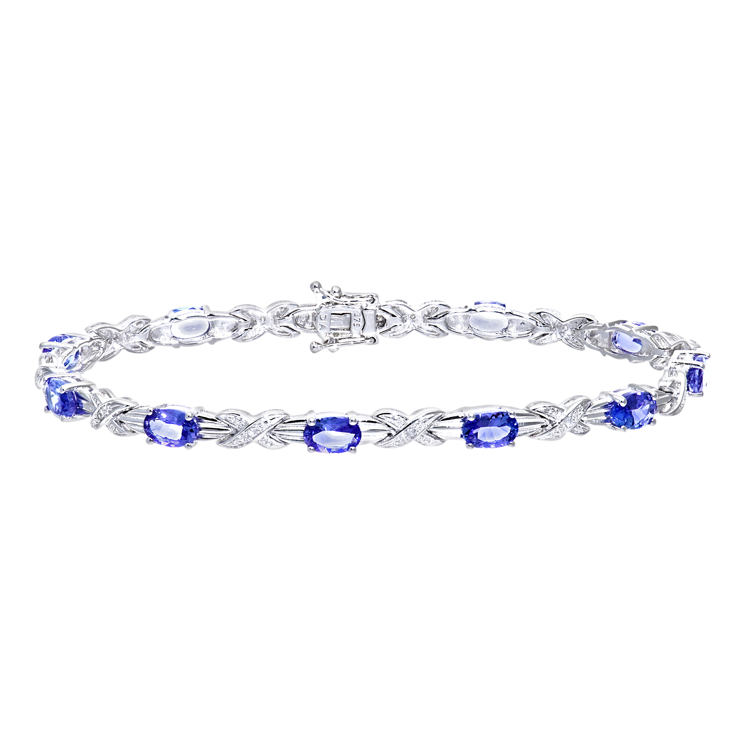 9ct White Gold Tanzanite Classic Kiss Bracelet with Diamond by Revoni