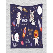 """Galaxy Tapestry, Zebra Lion Cat Sheep Astronauts Animal Figures Stars Space Rocket, Wall Hanging for Bedroom Living Room Dorm Decor, 40""""W X 60""""L, Dark Purple Grey Multicolor, by Ambesonne"""