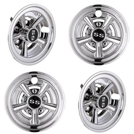 "Yescom 4pcs 8"" Golf Cart Wheel Cover Hub Cap SS Chrome Finished 5-Spoke Fits for EZGO Club Car Yamaha Easy Snap-in"