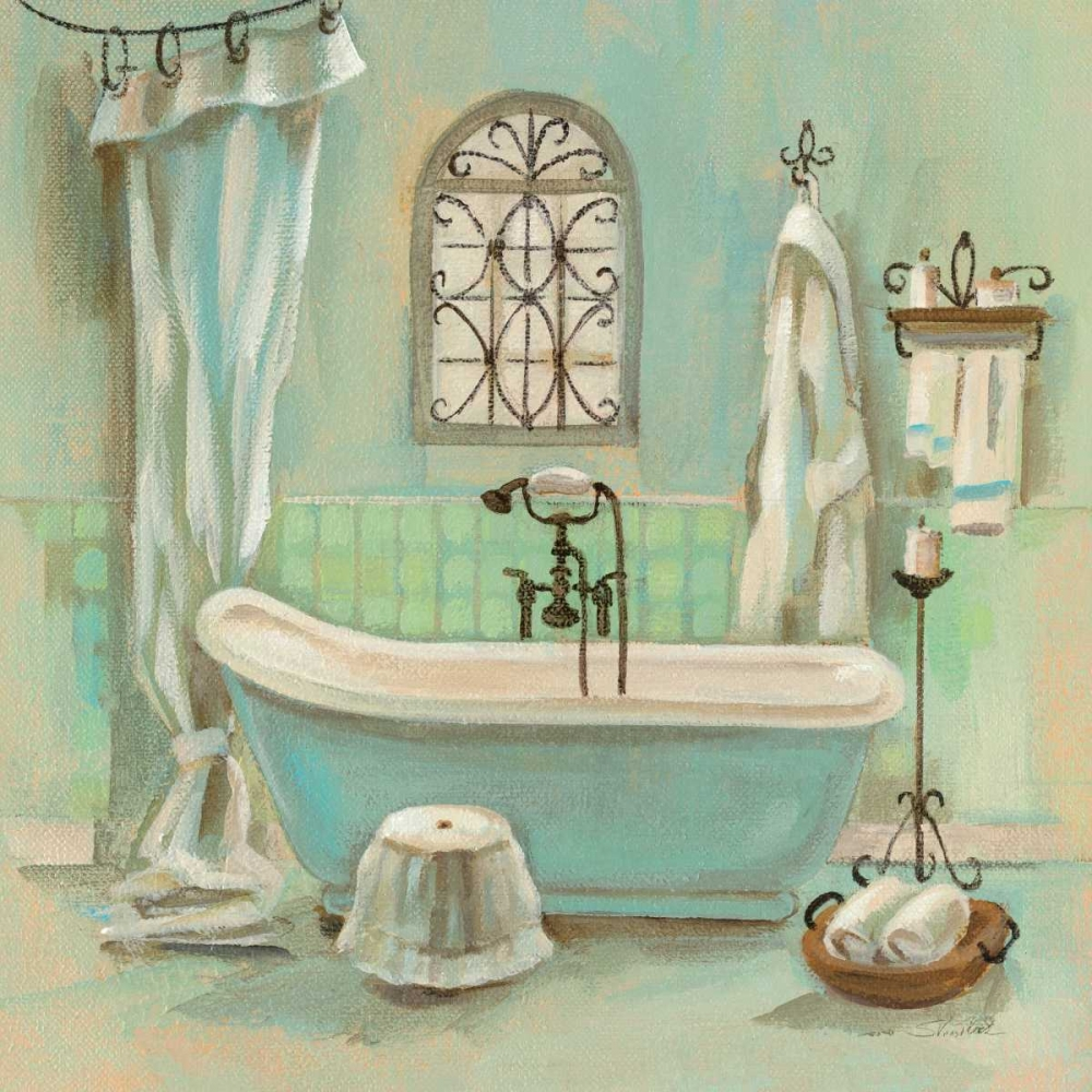 Glass Tile Bath I Stretched Canvas - Silvia Vassileva (24 x 24)
