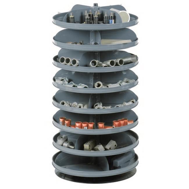 Durham 1108-95 17 in. No. 95 Rotabin Storage 8 Revolving Shelves, Gray