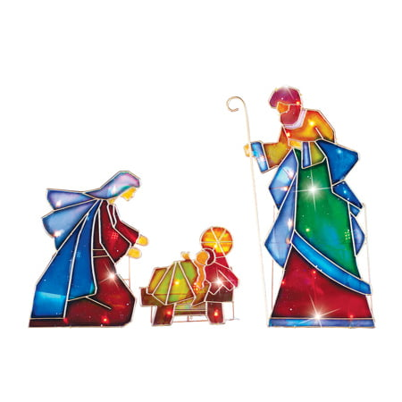 Lighted Outdoor Mosaic Nativity Christmas Scene - 3pc (