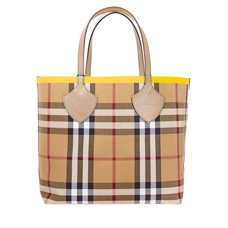 Burberry Large Giant Tote in Colour Block Check- Antique Yellow/Golden Yellow Burberry Quilted Check