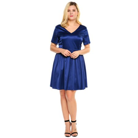 Satin V-neck A-line Dress - Women Plus Sizes V-Neck Short Sleeve Solid Satin A-Line Short Dress HFON