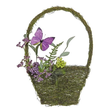15 purple and green mixed berry and butterfly artificial wall basket decoration. Black Bedroom Furniture Sets. Home Design Ideas