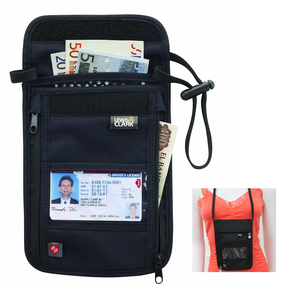 RFID Neck Stash Pouch Travel Holder Passport Id Wallet Bag Lewis N Clark Black !