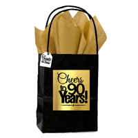 Black & Gold 90th Birthday / Anniversary Cheers Themed Small Party Favor Gift Bags with Tags -12pack