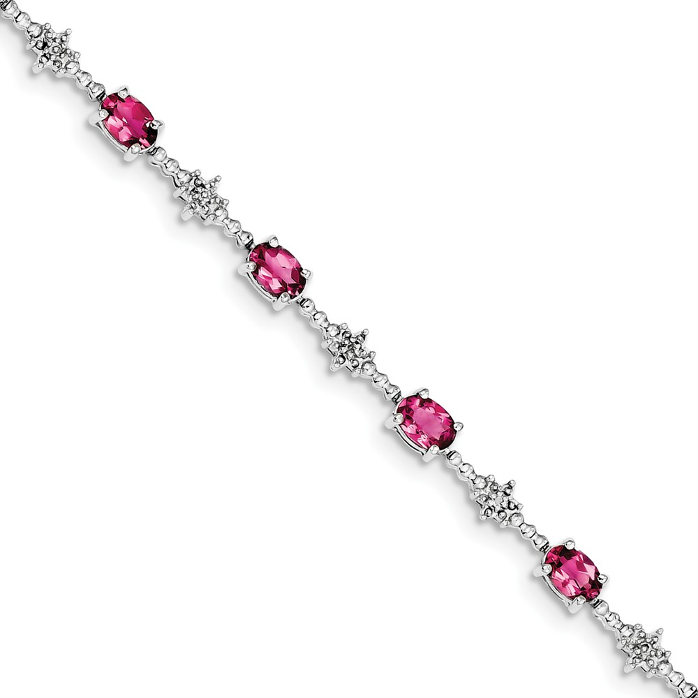 "925 Sterling Silver (0.01cttw) Pink Tourmaline and Diamond Bracelet -7"" (7in x 4mm) by"