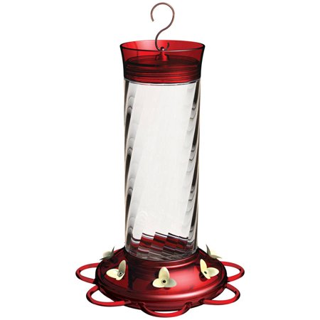 More Birds Hummingbird Feeder, 30- Ounce Nectar Capacity, 7 Feeding Stations, Glass Feeder, Diamond