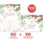 """Baby Baptism Invitations & Matching Thank You Cards ( 100 of Each ) Set with Envelopes, Seasonal Winter Christmas Infant Christening, 5 x 7"""" Write-in Invites & Thank You Notes VS0100J"""