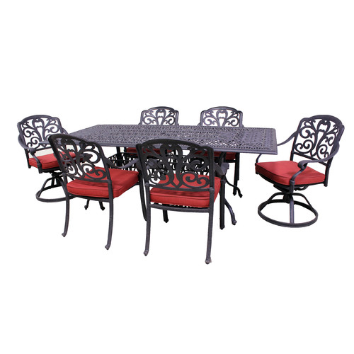 California Outdoor Designs Roma 7 Piece Dining Set with Cushions