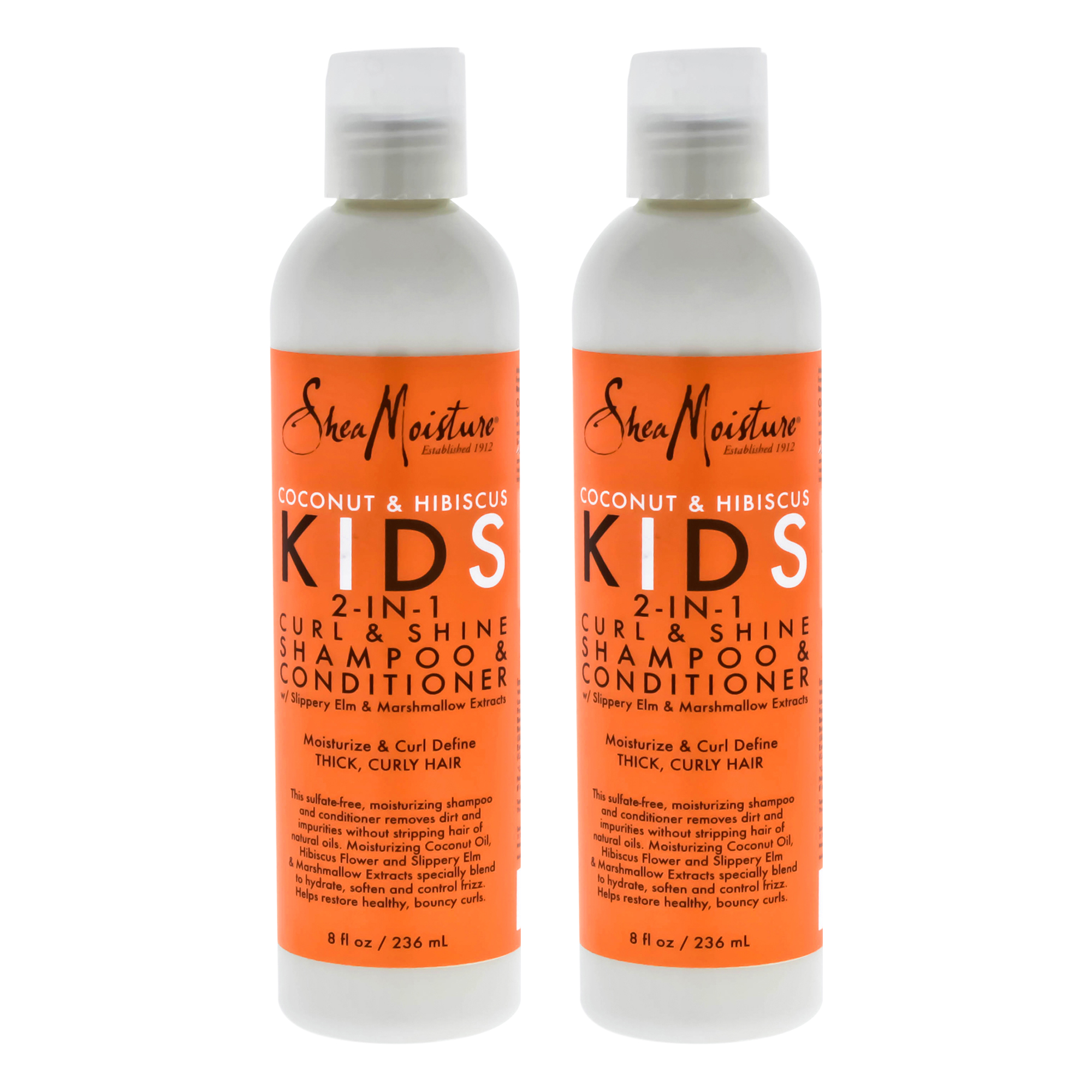 Coconut and Hibiscus Kids 2-In-1 Curl and Shine Shampoo and Conditioner by Shea Moisture for Unisex - - Pack of 2