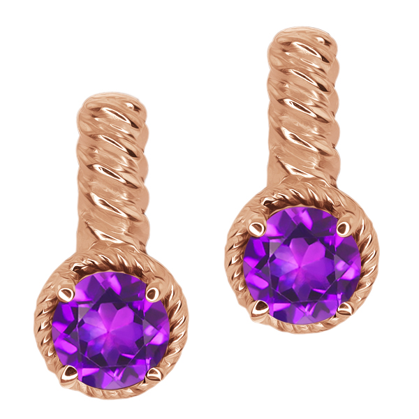 1.50 Ct Round Purple Amethyst Gold Plated Sterling Silver Earrings