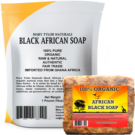 African Black Soap 1 lb 100% Natural Raw African Black Soap for Acne, Eczema, Psoriasis, Scar Removal Face And Body Wash Authentic Handmade Beauty Bar Imported From Ghana Africa By Mary Tylor