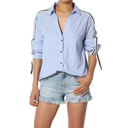 TheMogan Women's Contrast Roll Tab Long Sleeve Button Front Boyfriend Shirt Top Tab Front Shirt