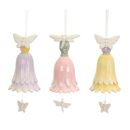 Dragonfly Ornaments (Pack of 6 Easter Floral Hanging Bell Ornaments Butterfly and Dragonfly)