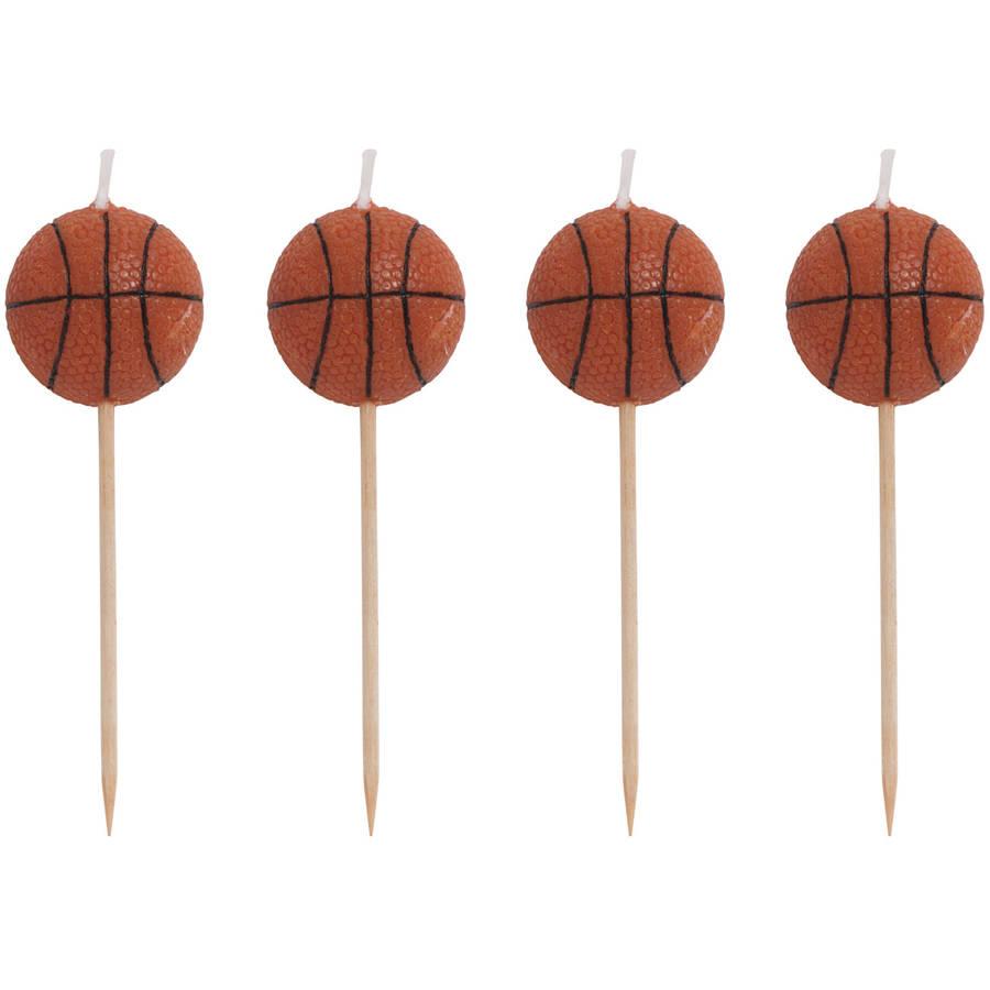 CREATIVE CONVERTING Sports Fanatic Basketball Molded Pick Candles, 4pk