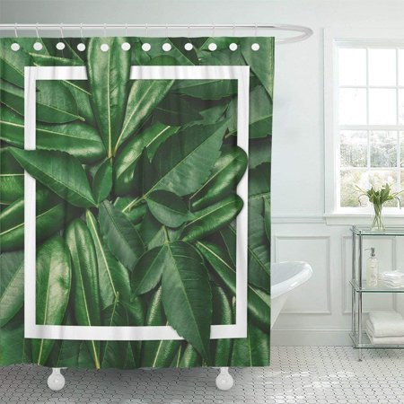 BPBOP Colorful Creative Made of Flowers and Leaves with Note Flat Lay Nature Concept Green Polyester Shower Curtain Bathroom Decor 66x72 inches