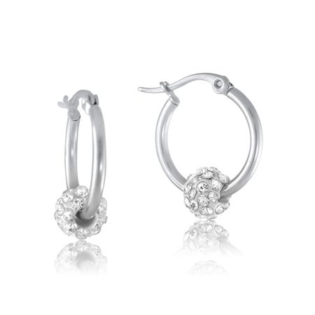 Small Silver Round Hoop Earrings With Fire Crystal Ball Charm Stainless Steel 0.7
