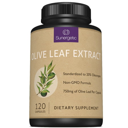 Premium Olive Leaf Extract Capsules - Standardized To 20% Oleuropein - Super Strength Olive Leaf Exact Supplement Helps Support Immune, Skin & Cardiovascular Health - 750mg Per Capsule - 120