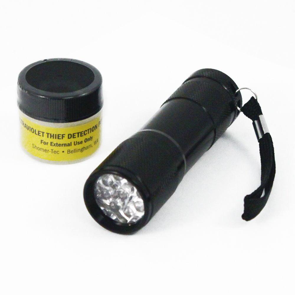 Ultraviolet UV Theft Detection Powder and Ultraviolet UV LED Flashlight Combo