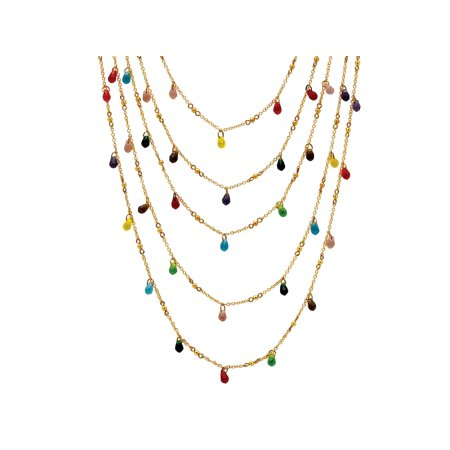 Drop Beaded Necklace Multi Color - Multicolor Beaded Waterfall Necklace in Yellow Gold Tone