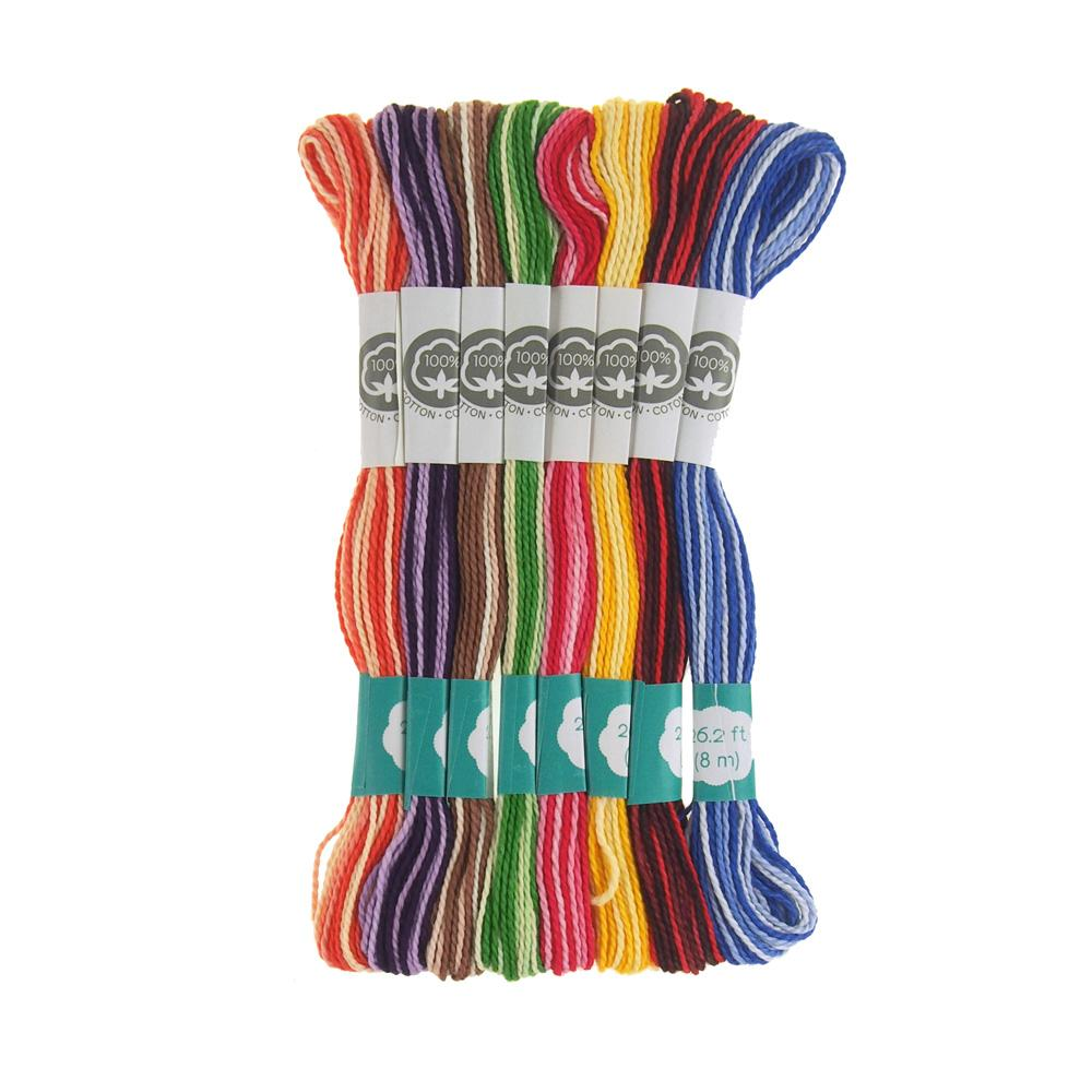 Cotton Embroidery Floss, 8.7-Yard, 8-Count, Variegated Darks