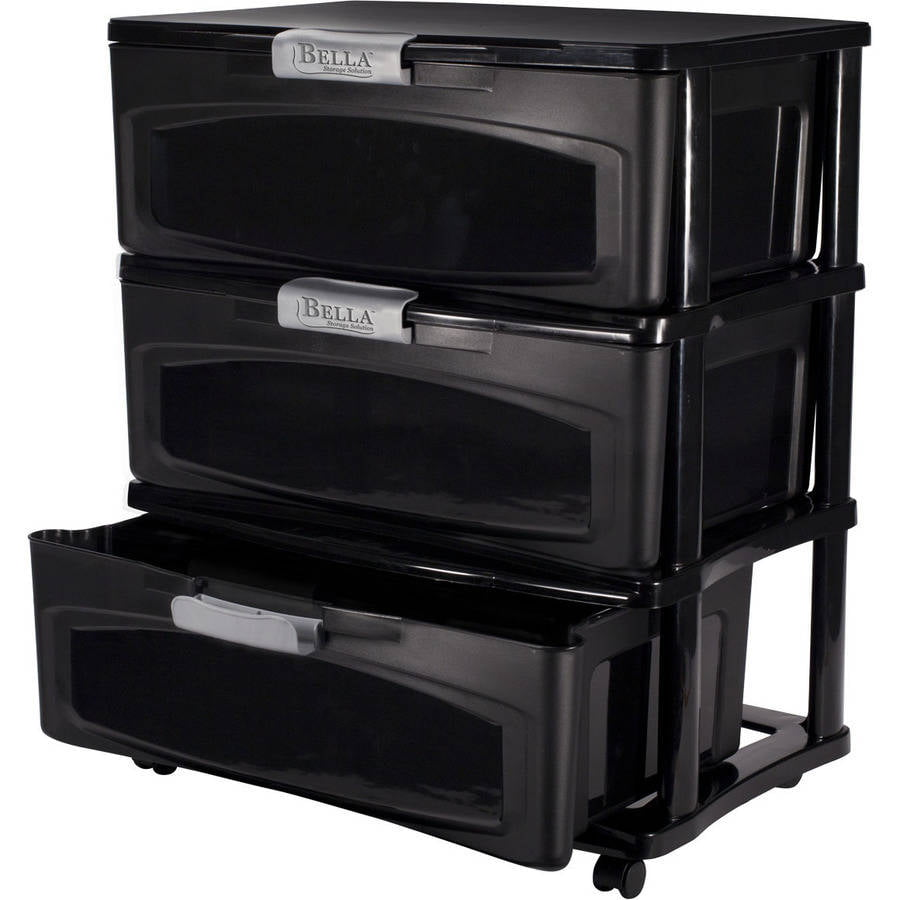 Bella 3 Drawer Wide Locking Cart With Opaque Drawers And Gold Handles,  Black   Walmart.com