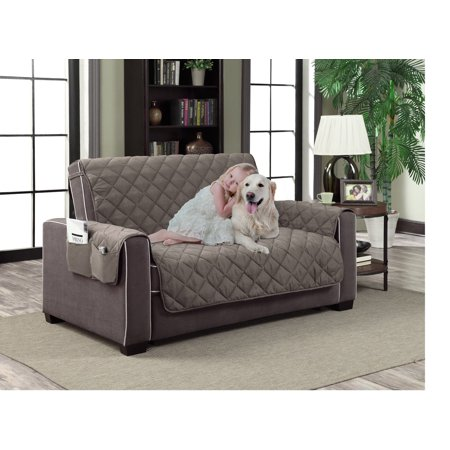Gray Quilted Cover (Home Dynamix Slipcovers: All Season Quilted Microfiber Pet Furniture Couch Protector Cover - Gray )