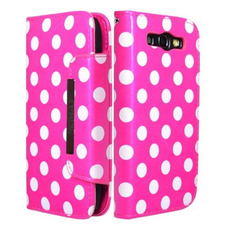 ZuGadgets 7624-2 Magenta Mini Diary Book Design Leather Polka Dot Cover / Case / Wallet / Holder with Cards Slot for Samsung Galaxy S III S3 (Samsung Galaxy S4 Mini Sim Card Problem)