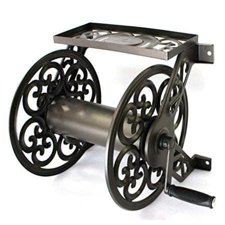 Decorative Steel Wall Mount Garden Hose Reel Holds 125-Feet of 5/8-Inch Hose