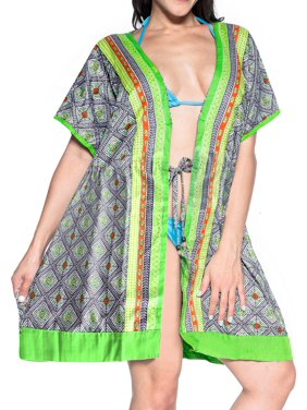 Womens Printed Kimono Cardigan Duster Short Wrap Shawl Boho Gypsy Loose Top Blouse Mini Dress AA