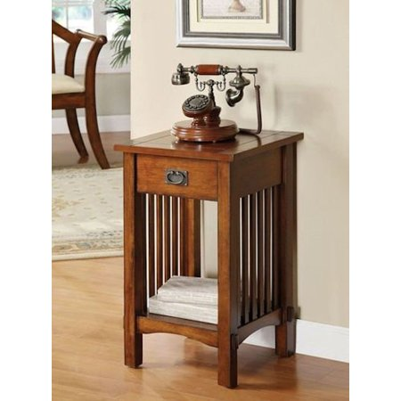 Legacy Decor Mission Style Telephone Night Stand End Table in Antique Oak Finish With Drawer 2 Drawer Phone Stand