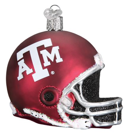 Old World Christmas Texas A&M Aggies Football Helmet Glass Tree Ornament 64217 - Texas A&m Football Helmets Halloween