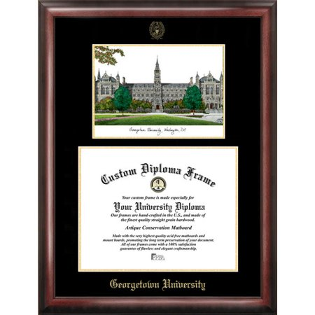 "Gerogetown University 14"" x 17"" Gold Embossed Diploma Frame with Campus Images Lithograph"