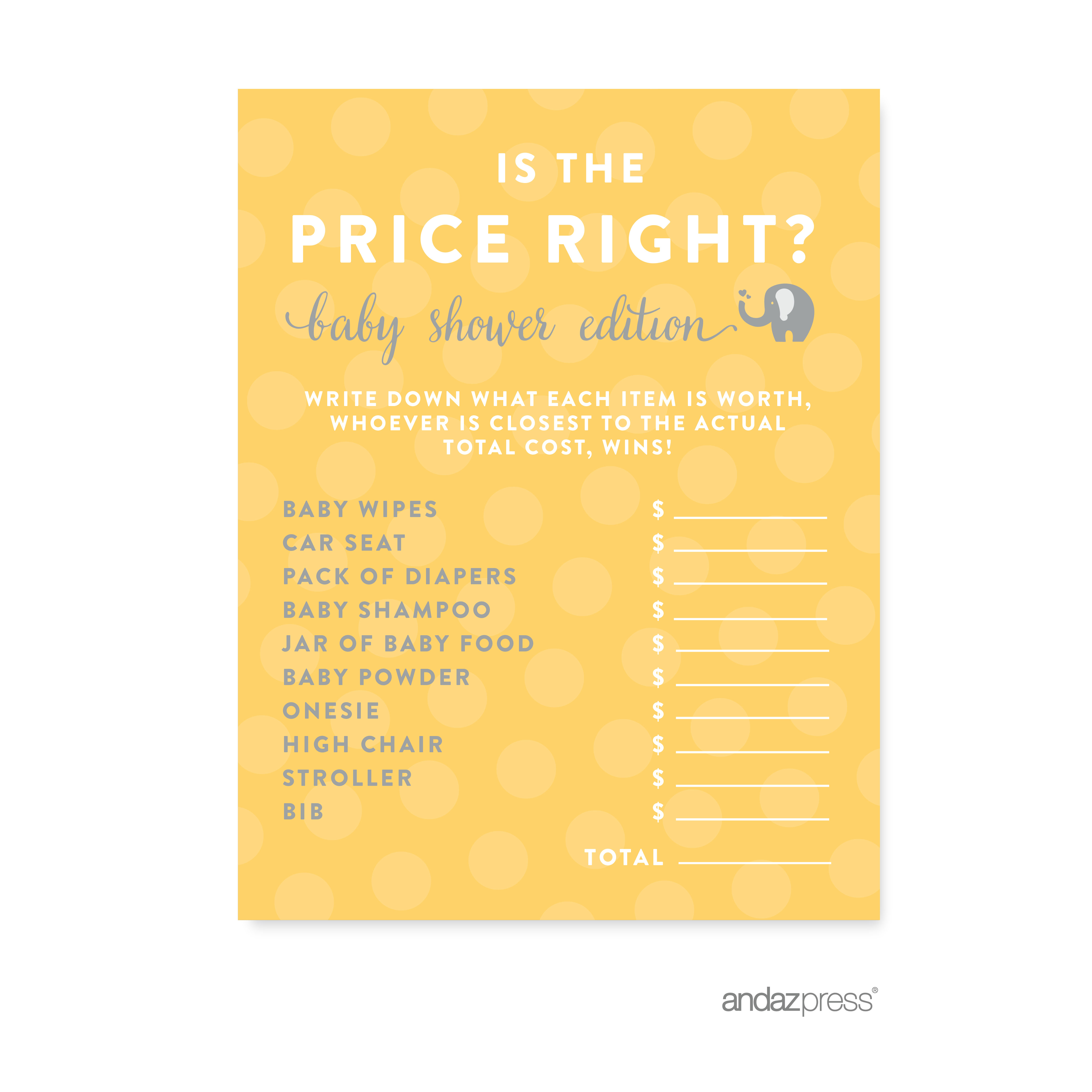 Is The Price Right? Yellow Gender Neutral Elephant Baby Shower Games, 20-Pack