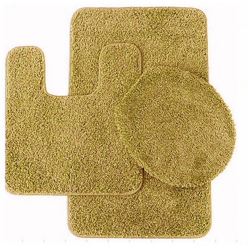 Layla 3 Piece Shag Bathroom Rug set- Bath mat, Contour and Seat Cover by Generic