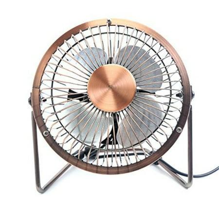 Glamouric Small Usb Desk Fan Mini Metal Personal Retro Design Electric Portable Air Circulator Angle