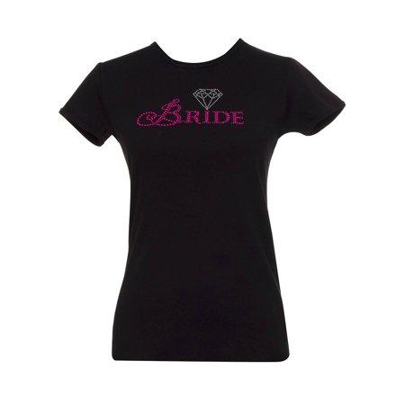 Jeweled Diamond Bride Womens Black T-Shirt