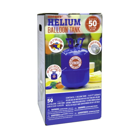 Unique 9in Helium Tank Kit For Birthday Party Includes 50 Balloons