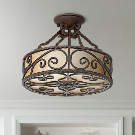 "John Timberland Natural Mica Collection 15"" Wide Iron Ceiling Light Fixture"