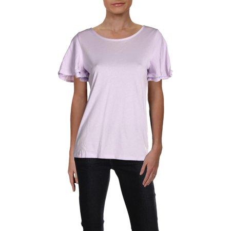 Lauren Ralph Lauren Womens Heathered Flutter Sleeves T-Shirt Purple M ()
