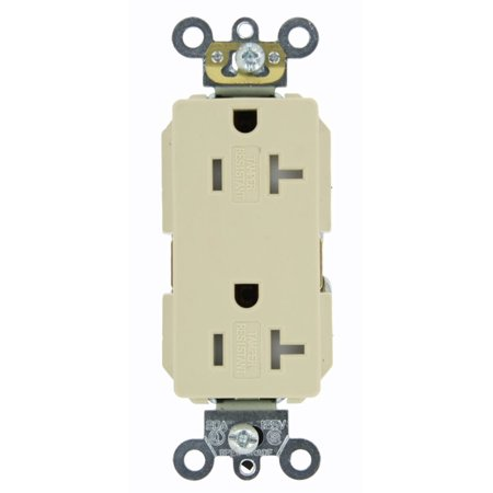 Leviton TDR20-I 20 Amp, 125 Volt, Tamper Resistant, Decora Plus Duplex Receptacle, Straight Blade, Commercial Grade, Self Grounding,